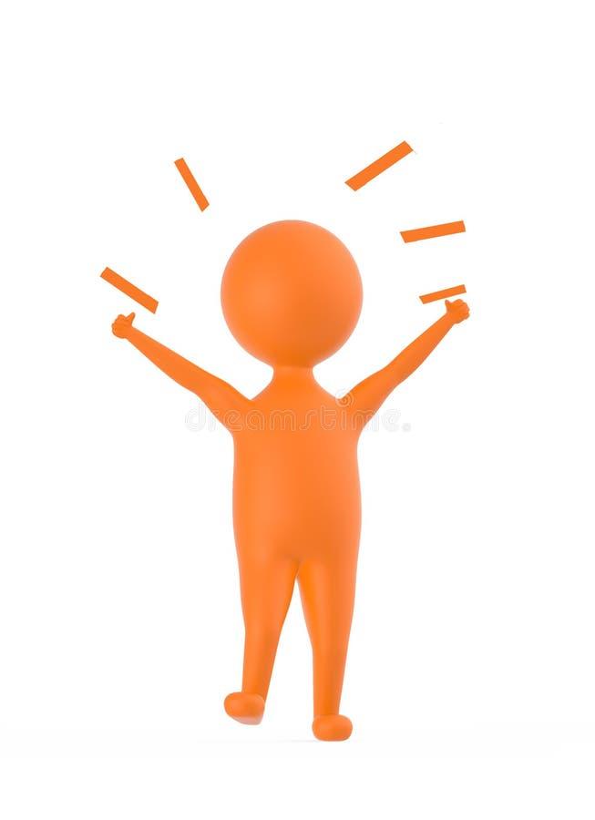 3d pomarańczowy charakter pokazuje szczęście, podniecenie, radość/ royalty ilustracja