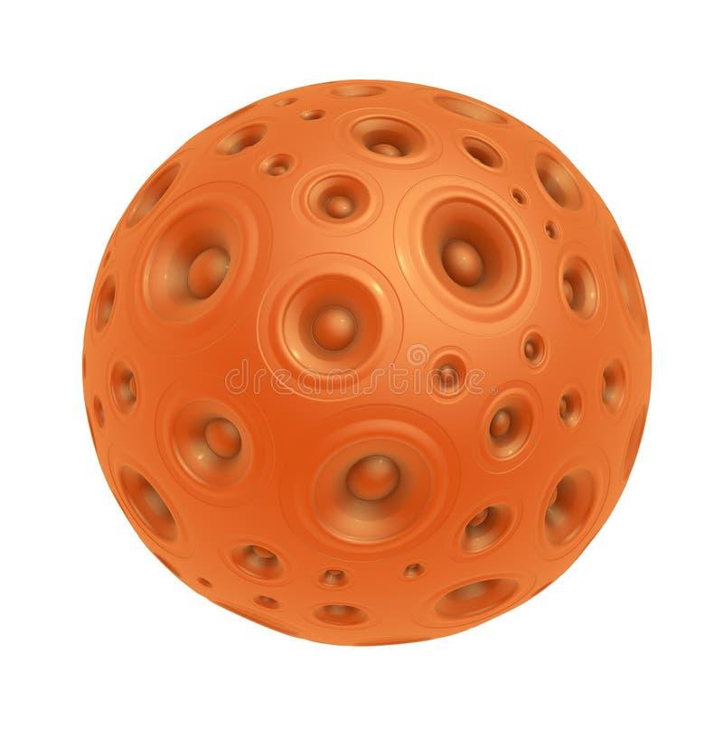 3d pomarańczowy głośnikowy system dźwiękowy nad bielem ilustracja wektor