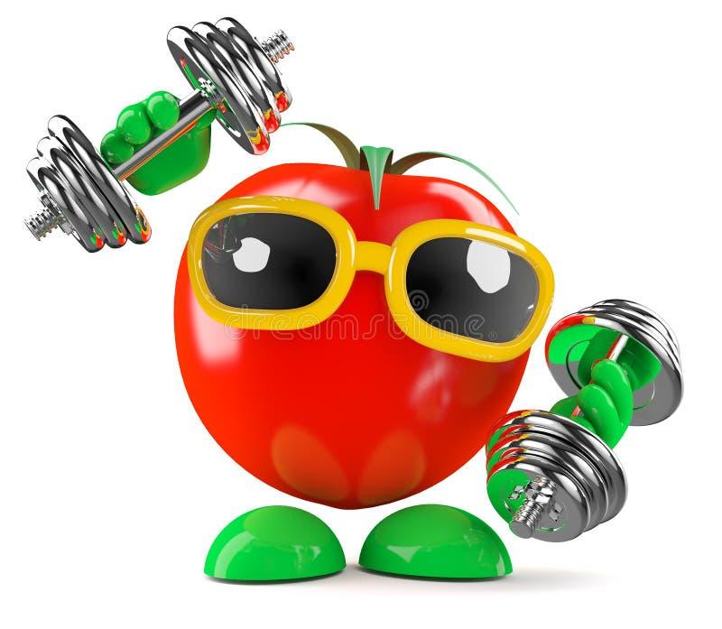 3d pomidor pracuje out ilustracja wektor