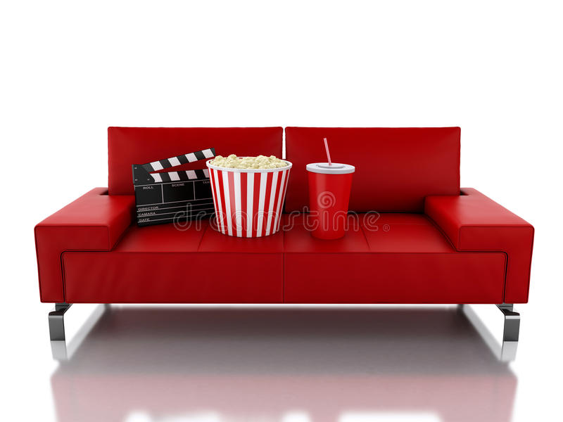 Download 3d Popcorn And Drink On Sofa. Cinema Concept Stock Illustration    Illustration Of Entertainment