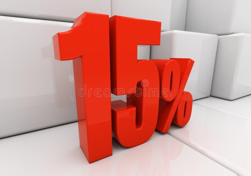 3D 15 por cento ilustração stock