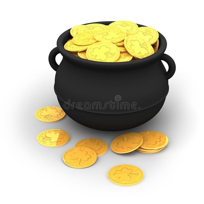 3d: Pot van Goud vector illustratie