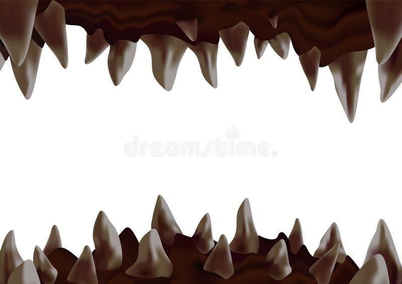 3d potwora otwarty usta z koślawymi ostrymi zębami przygotowywającymi gryźć ilustracji