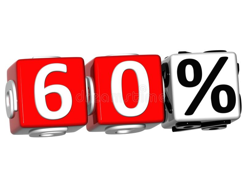 3D 60 pour cent de bouton de cliquez ici de textes de bloc illustration libre de droits