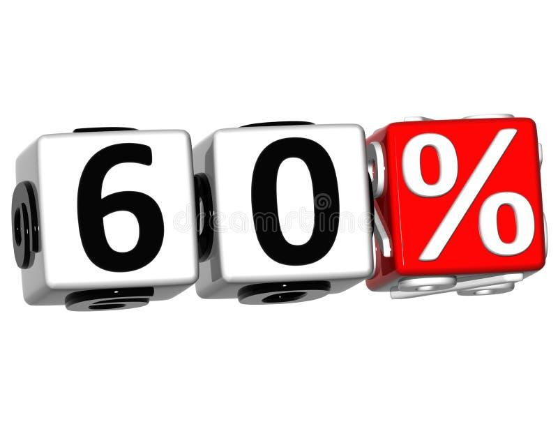 3D 60 pour cent de bouton de cliquez ici de textes de bloc illustration de vecteur