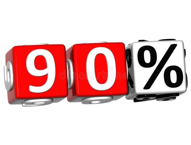 3D 90 pour cent de bouton de cliquez ici de textes de bloc illustration libre de droits