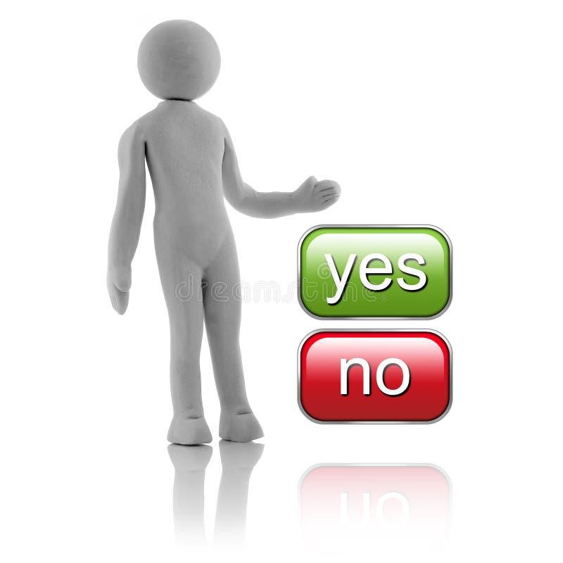 3D povos - conceito Homem, pessoa que escolhem no meio sim ou nenhuns botões ilustração stock