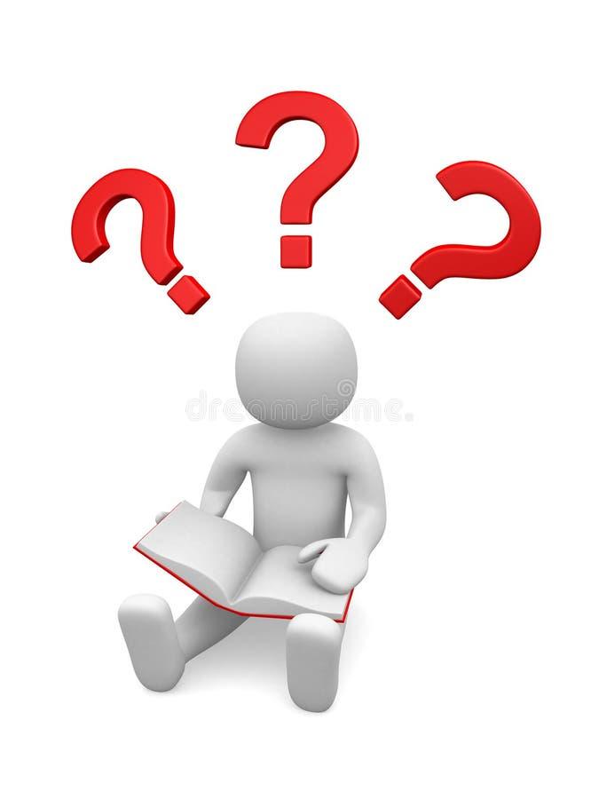 3d povos - homem, pessoa que pensa com pontos de interrogação vermelhos acima de h ilustração stock