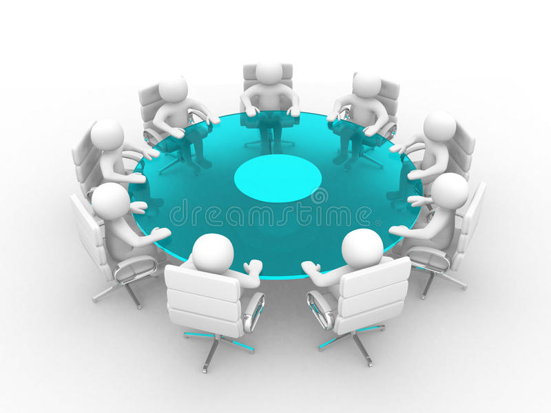 3d povos - homens, pessoa na tabela de conferência ilustração do vetor