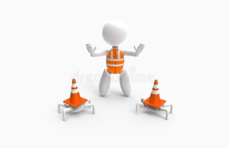 3D povos novos - cones do tráfego ilustração royalty free