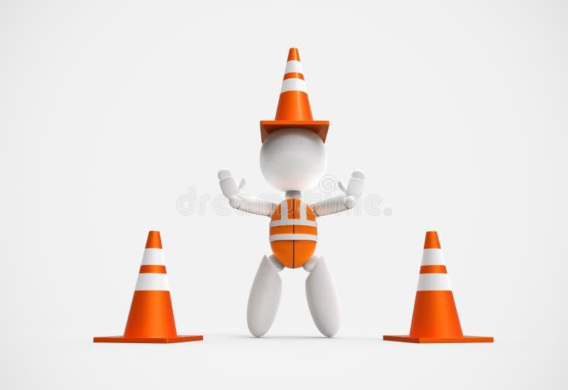 3D povos novos - cones do tráfego imagens de stock