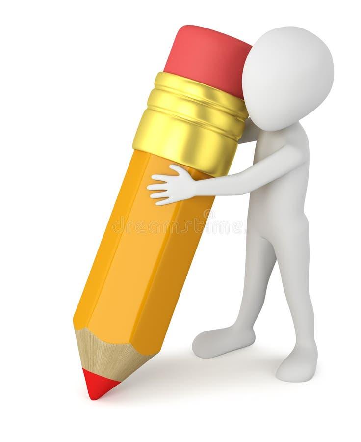 3d povos pequenos - lápis grande. ilustração do vetor