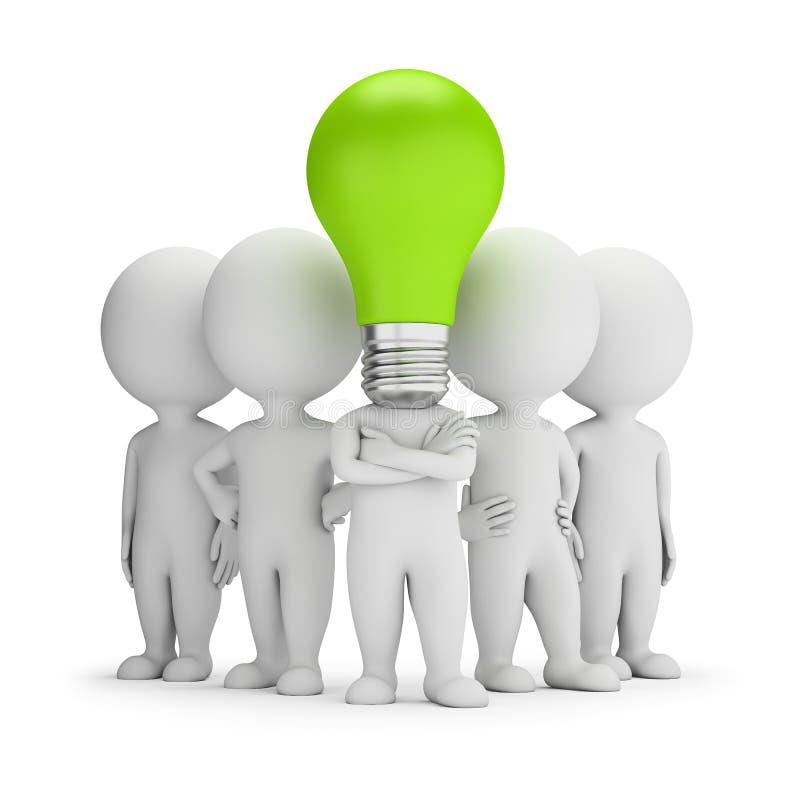 3d povos pequenos - líder das ideias ilustração stock