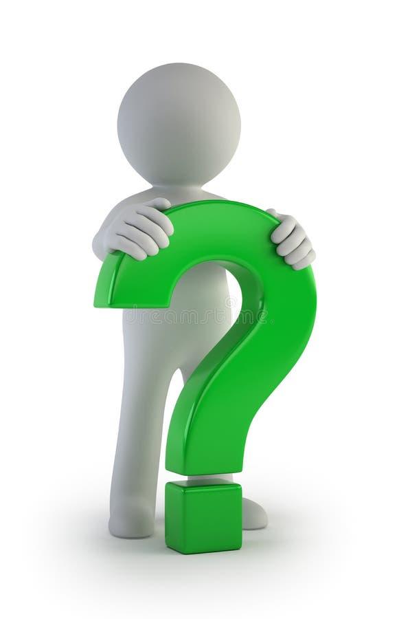3d povos pequenos - ponto de interrogação verde masculino ilustração stock