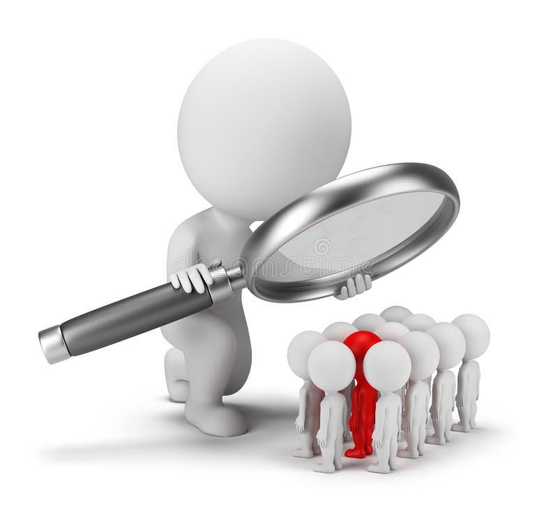 3d povos pequenos - recrutamento ilustração do vetor