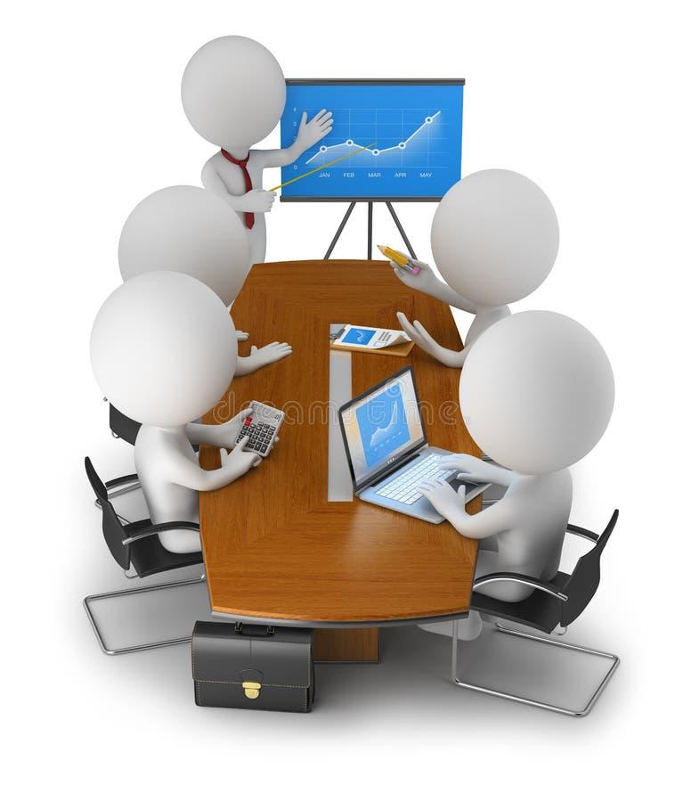 3d povos pequenos - reunião de negócios ilustração royalty free