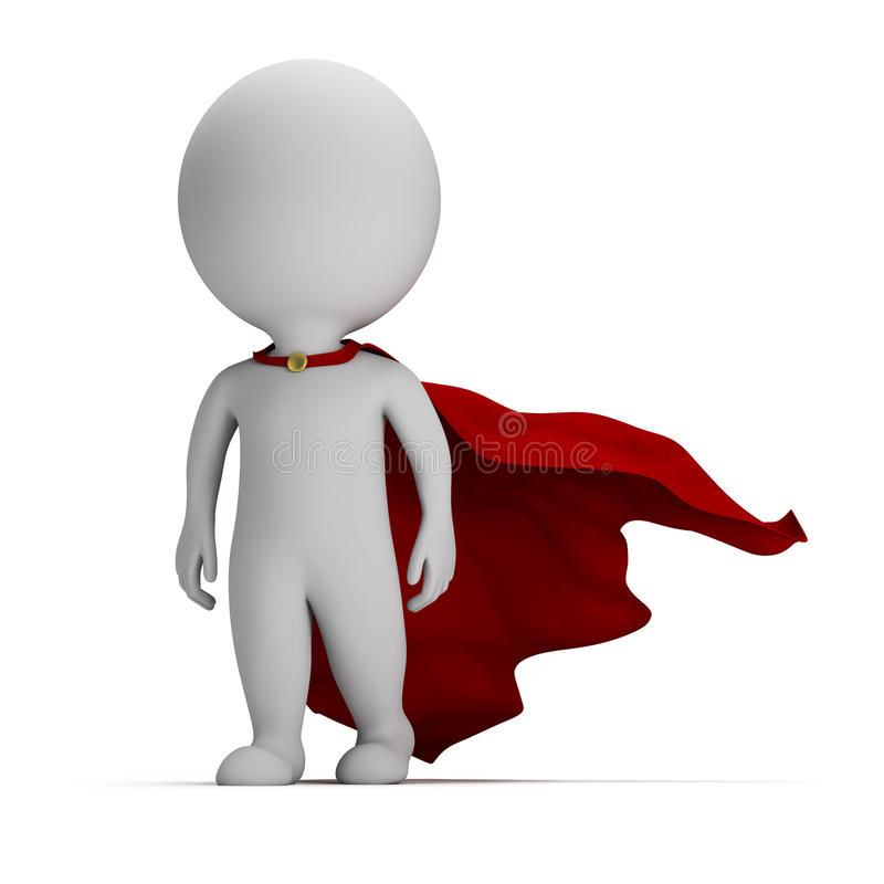 3d povos pequenos - super-herói corajoso ilustração royalty free