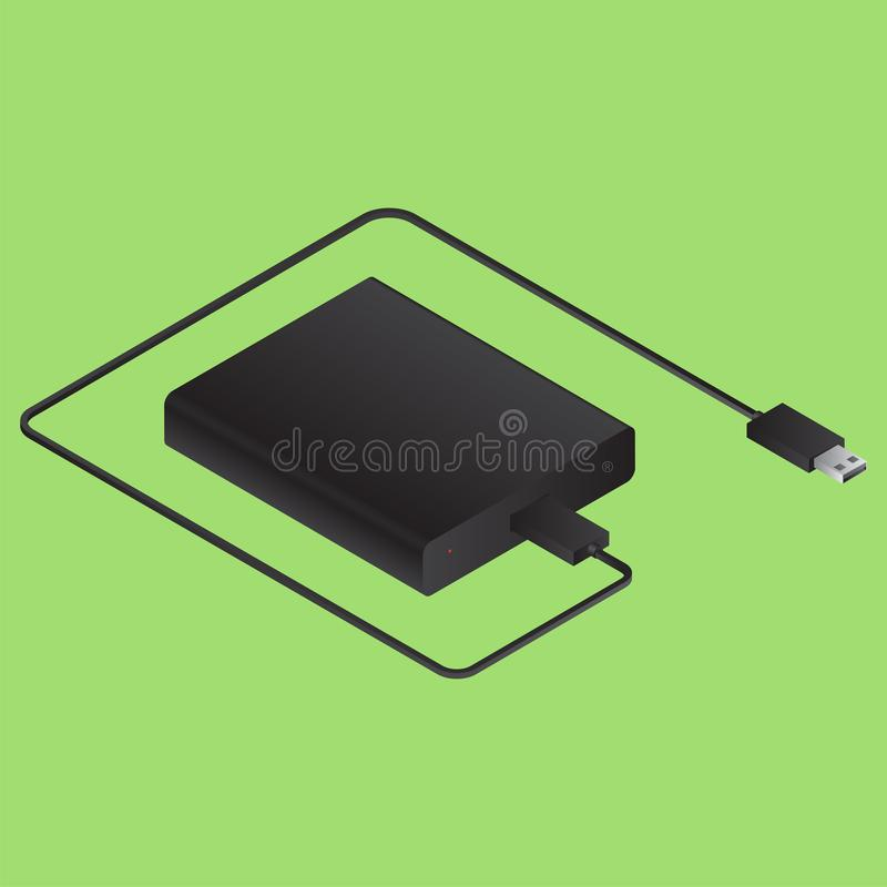 3D power bank with usb cable on green. 3D power bank with usb cable on green background vector illustration