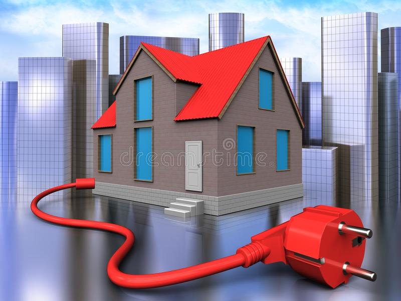 3d power cable over city. 3d illustration of house with power cable over city background royalty free illustration