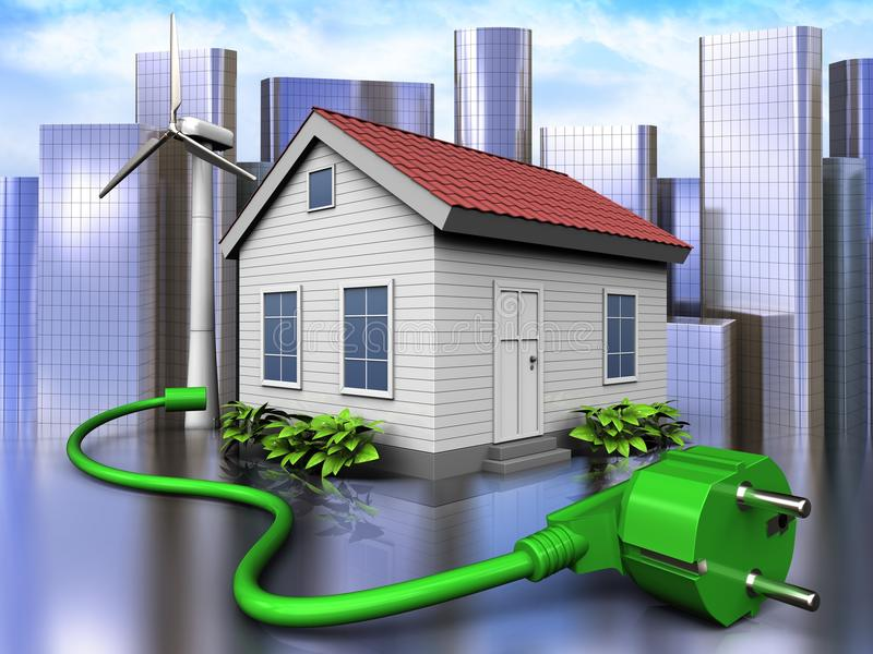 3d power cord over city. 3d illustration of wind energy house with power cord over city background vector illustration