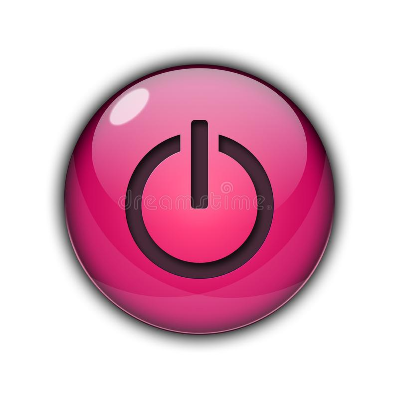 3D Power Start Button Pink Color stock photos