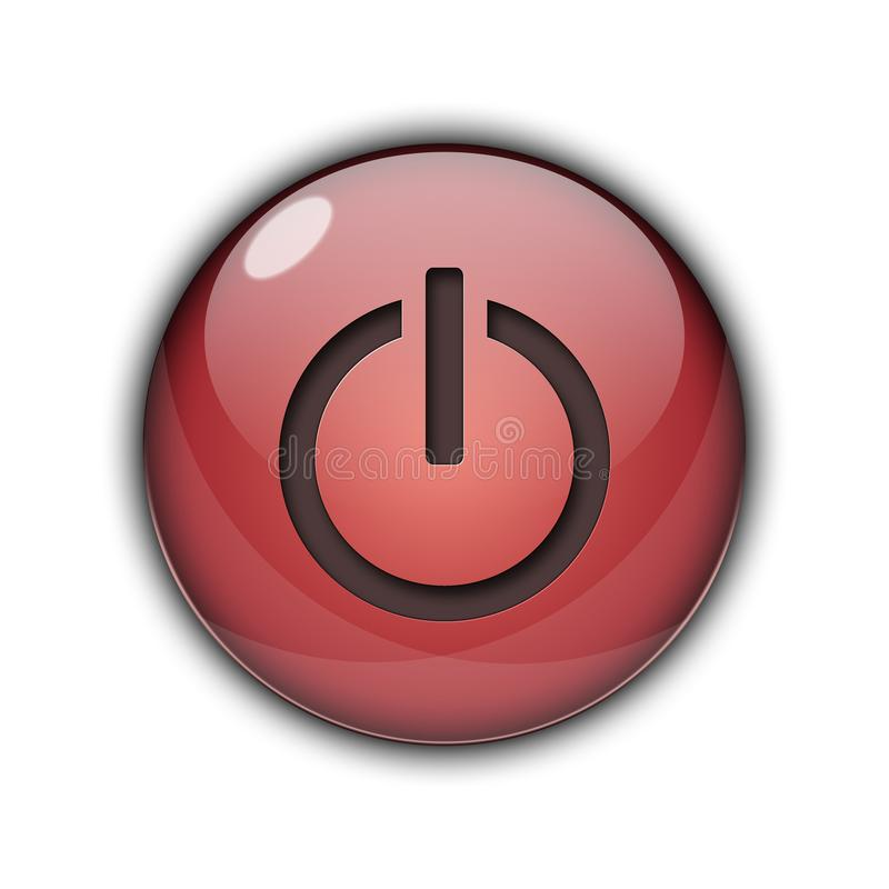 3D Power Start Button Red Color stock photography