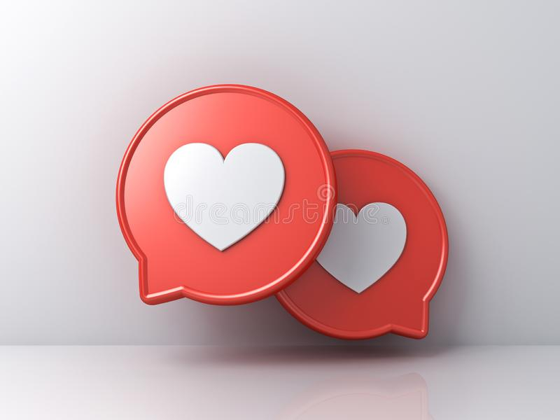 3d powiadomienia ogólnospołeczna medialna miłość jak kierowe ikony na czerwonych round mowy bąblach odizolowywających na białym k royalty ilustracja