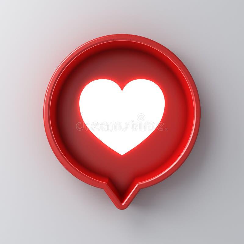 3d powiadomienia ogólnospołeczny medialny światło jak kierowa ikona w czerwonej round mowy bąbla szpilce odizolowywającej na biel ilustracja wektor