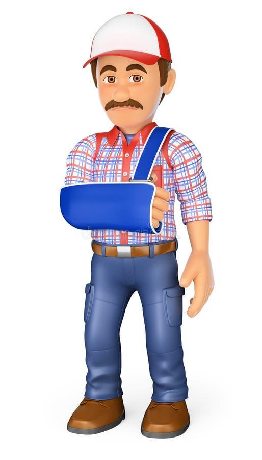 3D pracownik z ręką w temblaku Okupacyjny wypadek royalty ilustracja
