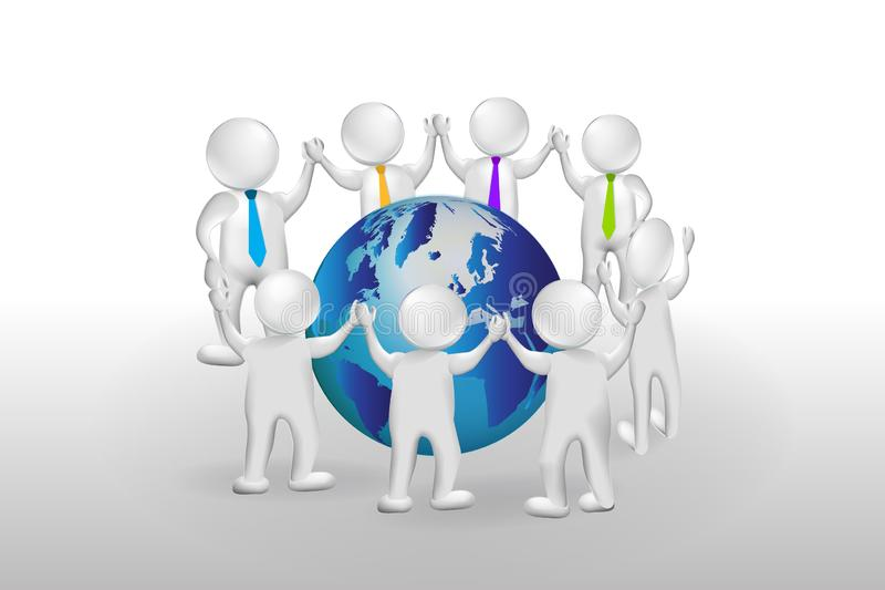 3d pracy zespołowej wokoło światowego logo Mali ludzie ilustracji