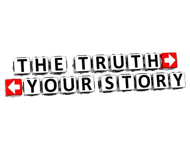 3D prawda Twój opowieść guzik Klikają Tutaj Blokowego tekst ilustracji