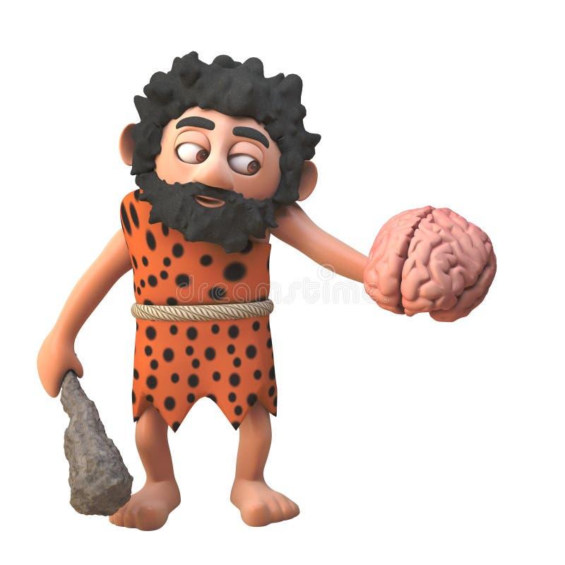 3d prehistoric caveman character holding a human brain and club, 3d illustration stock illustration