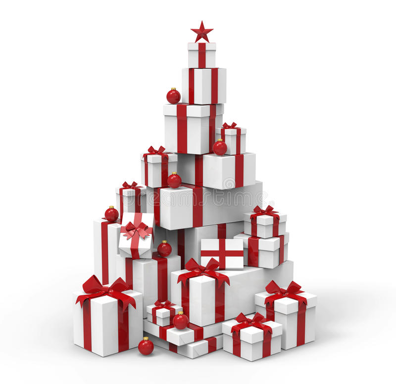 3d present boxes, christmas tree concept. Present boxes are modelled and rendered royalty free illustration