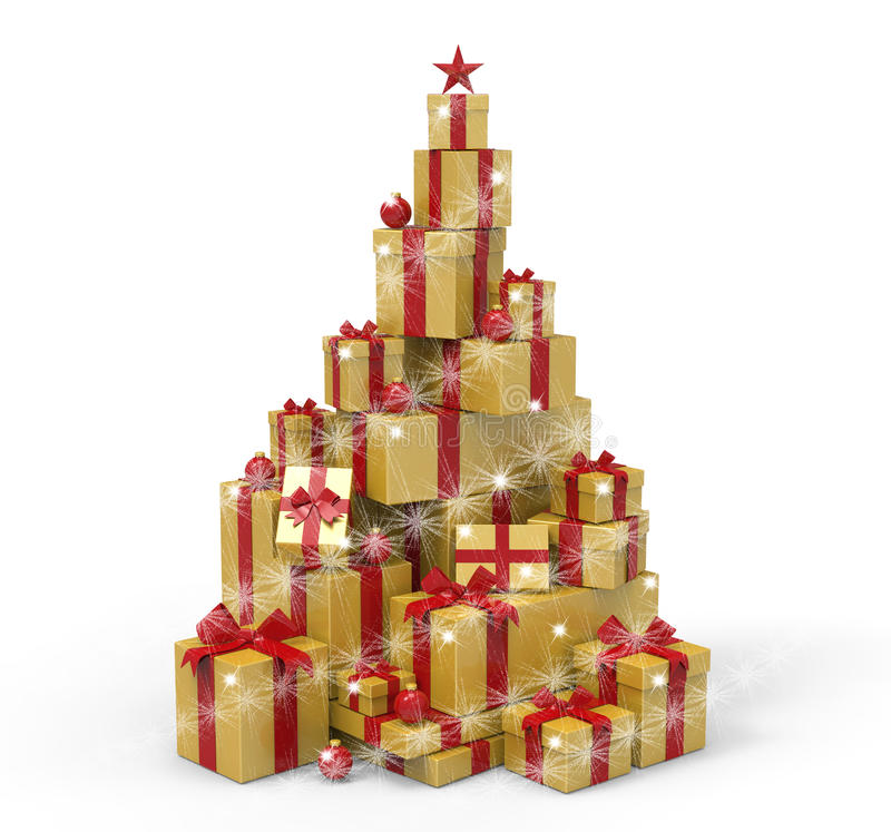 3d present boxes, christmas tree concept. Present boxes are modelled and rendered stock illustration