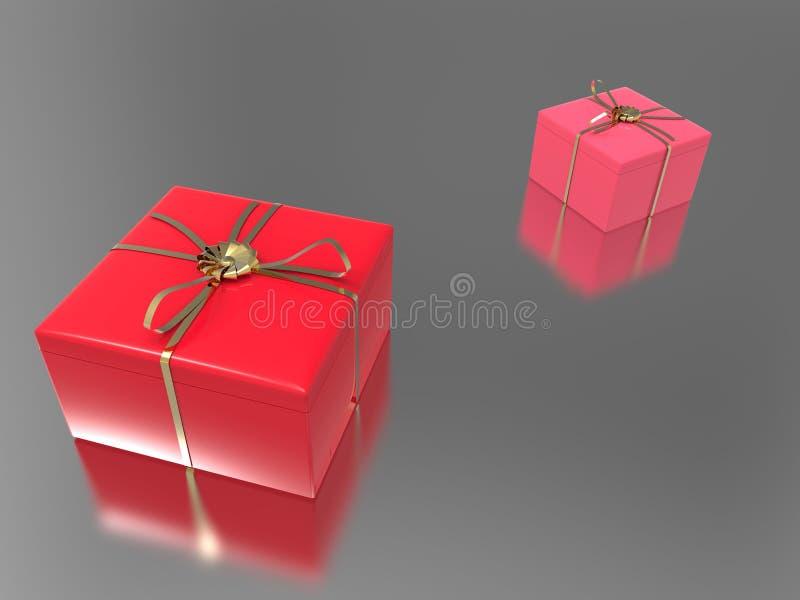 3D presentes vermelhos cor-de-rosa da ilustração dois ilustração royalty free