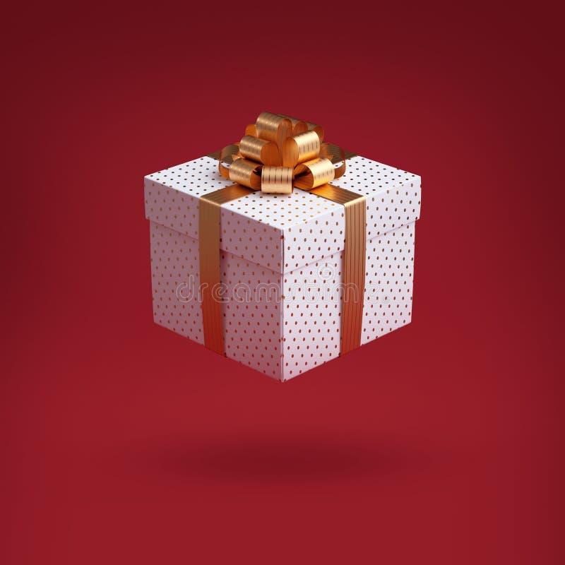 3d presentlåda med gyllene bog Julklippskonst, isolerad på röd bakgrund Insvälld förpackning med guldfärgat band Ikon för fixerin royaltyfria bilder