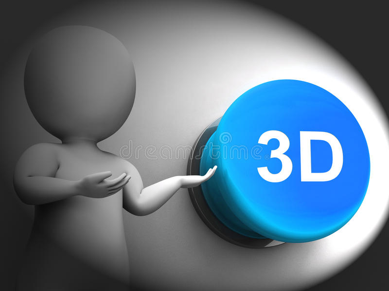 3d Pressed Means Three Dimensional Object Or Image. 3d Pressed Meaning Three Dimensional Object Or Image royalty free illustration