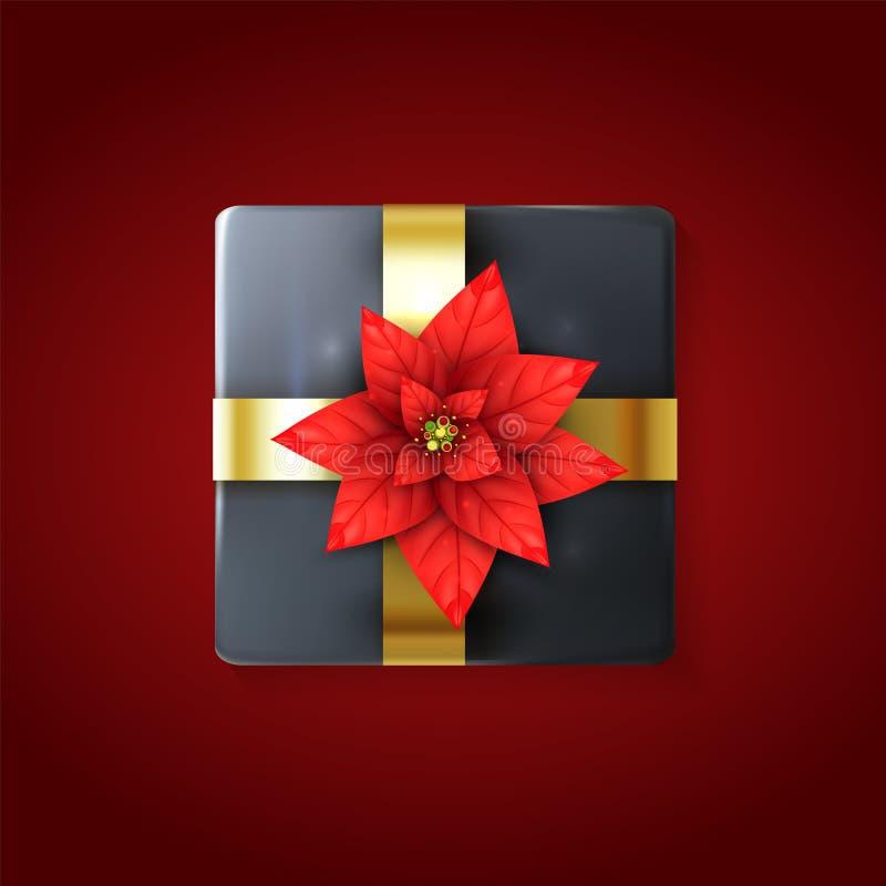 3d prezenta pudełko z Realistycznym poinsecja kwiatem i złotym faborkiem Xmas tła projekta element Szarych wakacji wiązany prezen royalty ilustracja