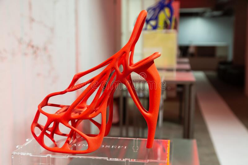 3D printed shoes on display at White in Milan, Italy royalty free stock photos