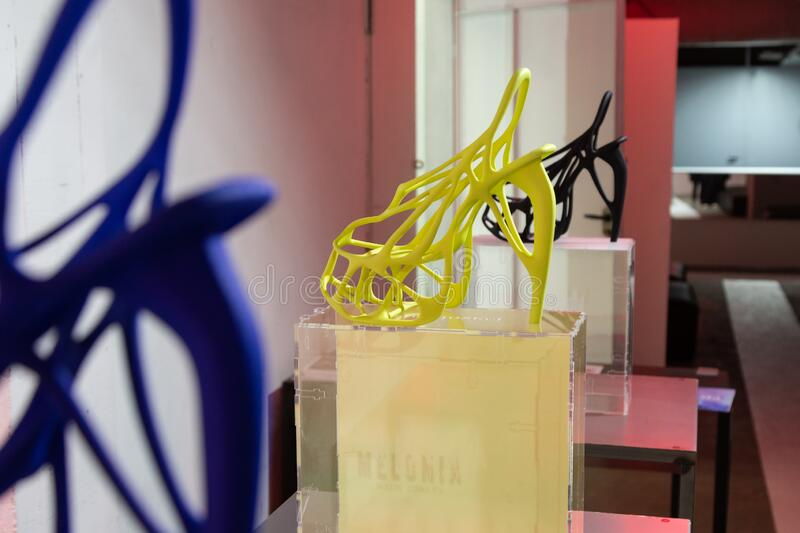 3D printed shoes on display at White in Milan, Italy royalty free stock images