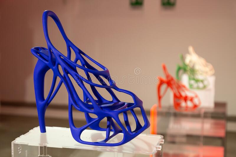 3D printed shoes on display at White in Milan, Italy royalty free stock image