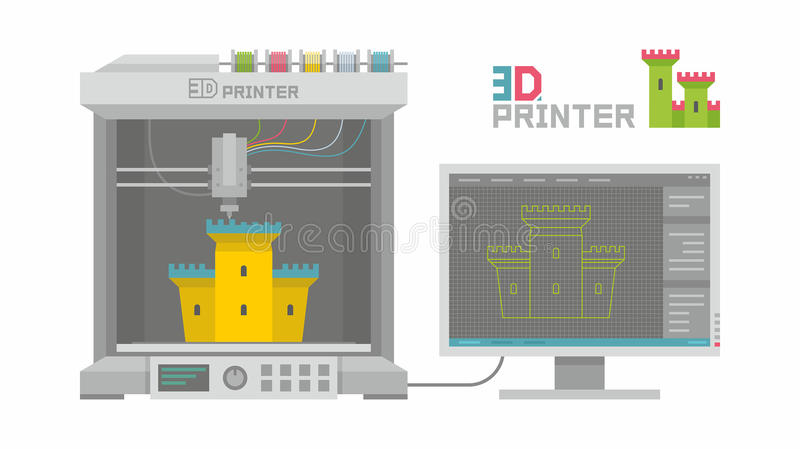 3d printer. In cartoon style isolated on white background royalty free illustration