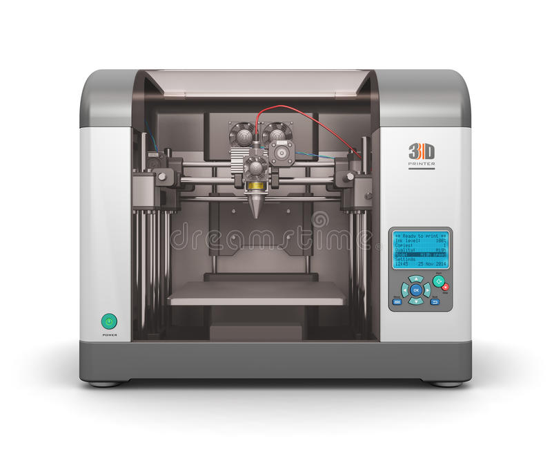 3D printer. Creative abstract new technologies concept: modern professional plastic 3D printer isolated on white background royalty free illustration