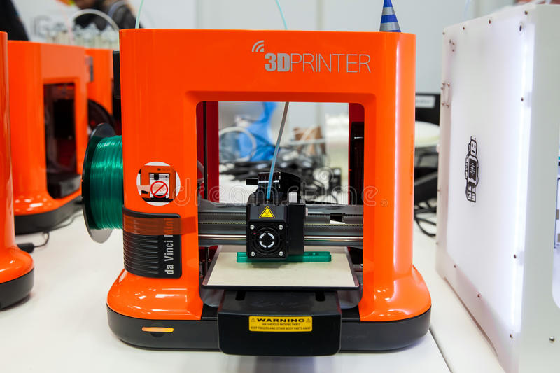 3d printer Da Vinchi mini printing close up process on exhibition Cebit 2017 in Hannover Messe, Germany stock photo