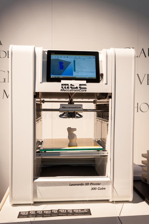 3D printer on display at HOMI, home international show in Milan, Italy royalty free stock photos