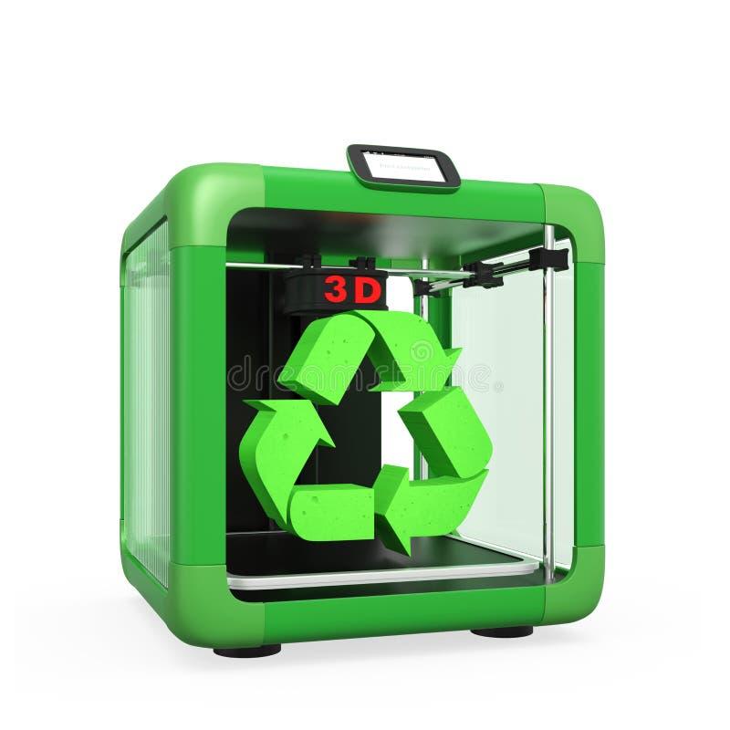 3D printer en kringloopdieteken op witte achtergrond wordt geïsoleerd stock illustratie