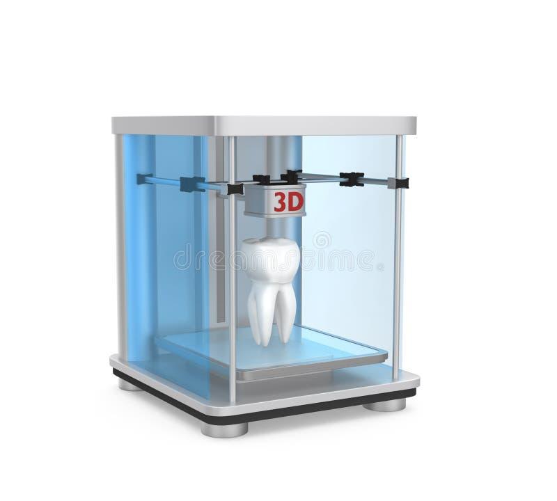 3D printer en menselijke tand voor het tandconcept van de weefseltechniek vector illustratie