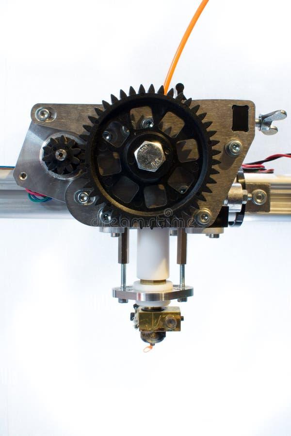 3D printer extruder. The extruder head on a k8200 3d-printer stock photo