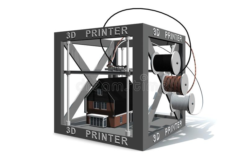 3d printer finished a house stock illustration