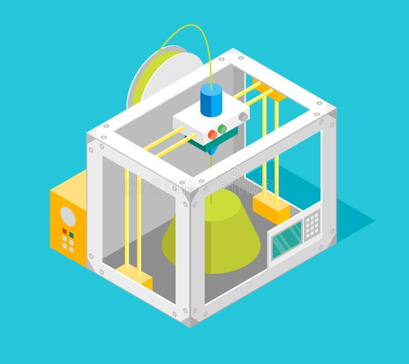 3d Printer Flat Design Style Isometric View. Vector vector illustration